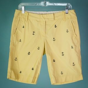 J Crew Size 6 Yellow Navy City Fit Anchor Shorts